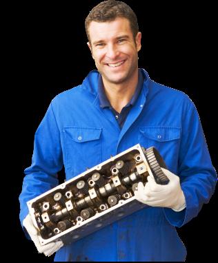 male staff holding endgine parts
