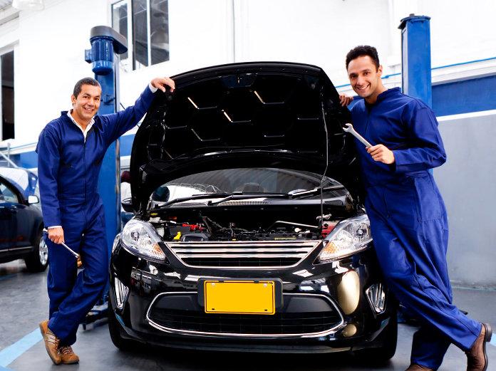 repairing black car